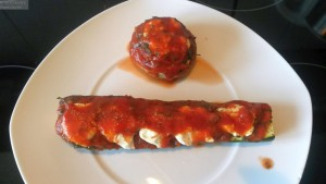 Gefüllte Zucchini + Champignon Portion