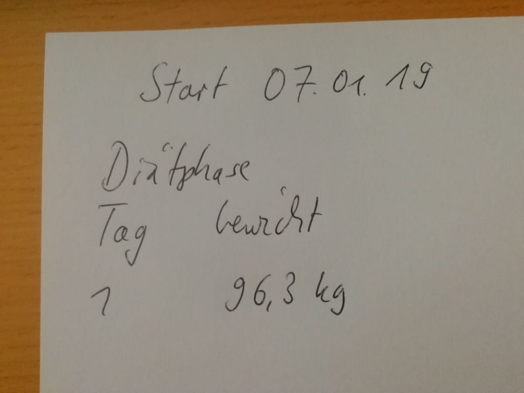 hCG Diät Gewichtsprotokoll